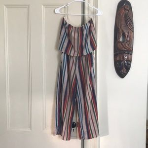 Jumper with vertical colorful stripes sleeveless